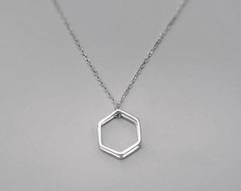 Silver Hexagon Geometric Minimalist Pendant Necklace