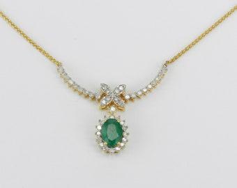 "14K Yellow Gold Emerald and Diamond Necklace 16"" May Gemstone Wedding Gift"