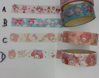 Limited Edition : My Melody 4 choice of Washi Tapes 5M full roll - perfect for weekly planner
