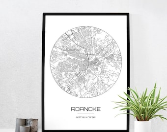 Roanoke Map Print - City Map Art of Roanoke Virginia Poster - Coordinates Wall Art Gift - Travel Map - Office Home Decor