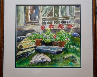 Donna's Geraniums Original Watercolor of a flower bush signed by Artist Sue Mason  Green Yellow Red