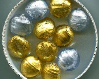 Venetian Murano Lampwork Handmade Gold, Gold Denim & Silver Foil  Beads, B3032.B3033. B4126. B4132.B4135 *