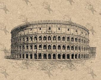 Antique image Colosseum Italy Instant Download picture printable Vintage clipart digital graphic scrapbooking burlap sticker decor HQ 300dpi