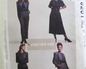 Jones New York Sewing Pattern - Lined Jacket, Top, Full Skirt and Cuffed Pants - McCall's 6201 - Sizes 12-14-16, Bust 34 - 38, Uncut