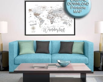 Printable dorm decor etsy 32x48 printable world map download gray brown dorm decor large world map detailed gumiabroncs Image collections