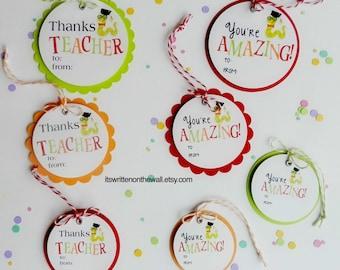 Bookworm Teacher Appreciation Gift Tag / Teacher Appreciation Gift Ideas / Thanks Teacher Tags ? You're Amazing Tags
