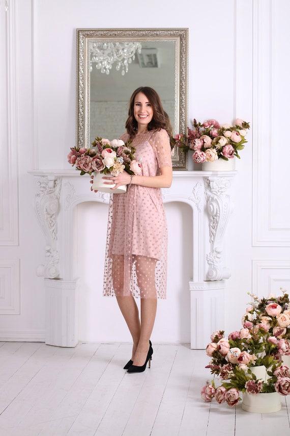 Rosa gepunkteten Tüllkleid Prom Kleid Brautjungfern Kleid