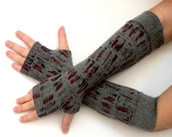 Sale gloves Fingerless long  gloves  with pattern, cotton, vintage, stempunk