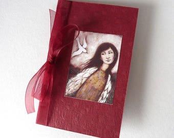 Folded card with illustration + Burgundy Ribbon