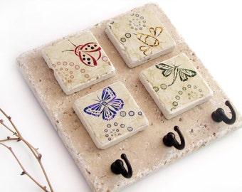 Cute Bug Art Key Hook, Key Rack, Wall Key Holder, Butterfly, Bumble Bee, Ladybug, Dragonfly, Jewlery Organizer, Wall Hooks
