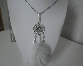 Necklace dream catcher and real grey feathers