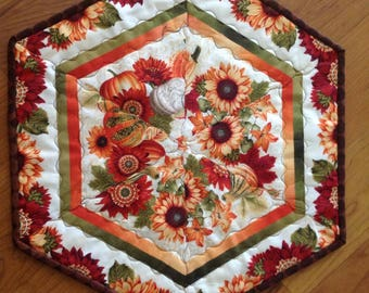 Quilted Fall Table Topper or Candle Mat
