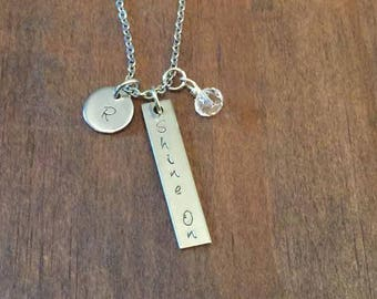 Personalized Shine On Rectangle Bar Necklace- Initial and Birthstone Jewelry- Shine On Necklace with Initials and Birthstone