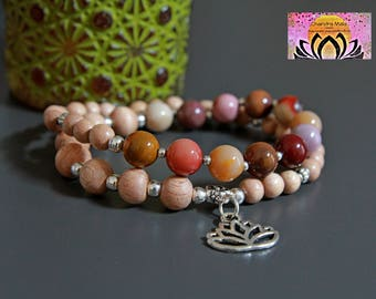 Mookaite and Rosewood Wrist Mala-Beaded Wrap Bracelet-Stretchy-Silver Lotus Flower Charm-Yoga Stack Jewelry-Boho-Intention Bracelet-Gemstone