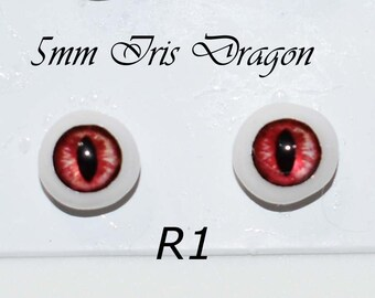 Hand Made Dragon Eyes 8mm - Red R1 - Fantasy - Character - Creature - Reptile OOAK