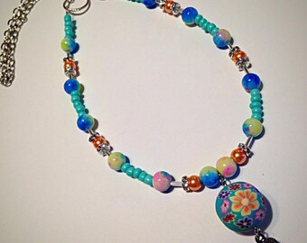 Summer Necklace, Beach Necklace, Beach Jewelry, Flip Flop Jewelry, Cruise Necklace, Beach Ball, Colorful Jewelry, Statement Jewelry