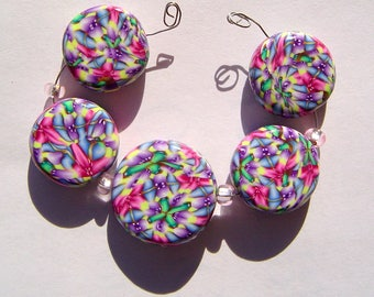 Fields Artisan Polymer Clay Bead Set with Focal and 4 Beads