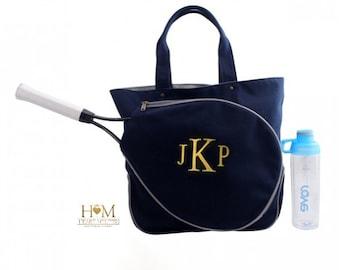 Tennis Bags - Monogrammed Tennis Bag - Canvas Navy Racquet Bag - Tennis tote - Tennis Team