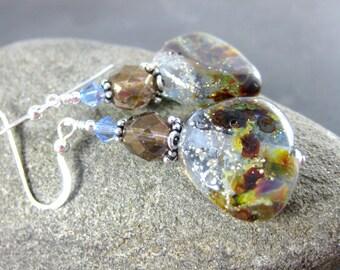 Fan Earrings, Blue Brown Silver Glass Dangle Earrings, Rustic Earrings, Boho Earrings, Unique Lampwork Earrings, Winter Woodland Jewelry