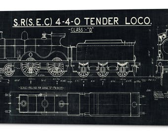 Locomotive blueprint etsy giclee canvas wall art train blueprint malvernweather Gallery