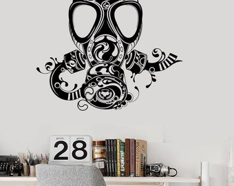 Cool gas mask etsy wall vinyl decal gas mask abstract modern cool decor 2333di voltagebd Image collections