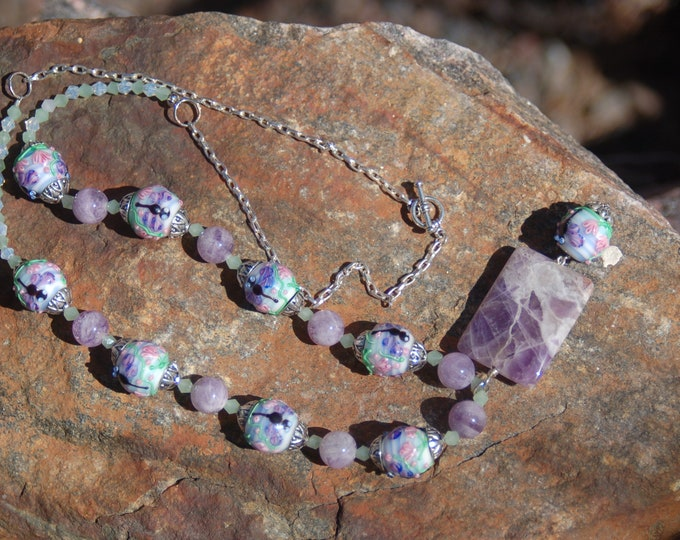 "Featured listing image: Dragonfly Lampwork Beaded Necklace, Amethyst and Lampwork Necklace, ""The Loyal Dragonfly"""