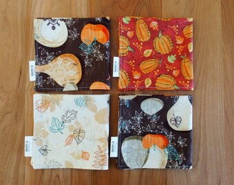 Fall Cocktail Napkins, Thanksgiving Napkins, Lunchbox Napkins, Small Napkins, Mix and Match, Pumpkins, Gourds, Falling Leaves, Autumn Decor