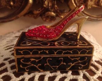 Vintage Metal Trinket Box / Pill Box with Red Rhinestone High Heel Shoe