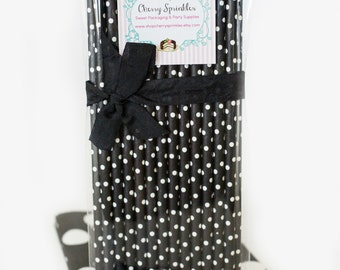 Black Polkadot Straws *PAPER STRAWS *Black and White Party *Black Straws *Polkadot Straws *Halloween decor *Black Swiss Dot *Black Wedding
