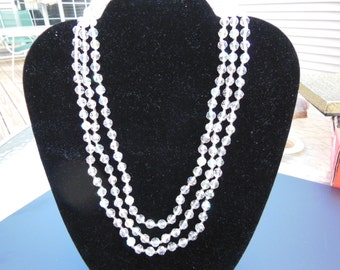 Crystal, 3 Strand Necklace - 16 inch - Vintage