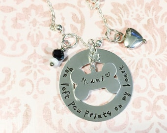 Pet Memorial Jewelry - Pet Memorial Necklace - Loss of a Pet - You Left Pawprints on my Heart