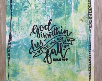God is Within Her She Will Not Fall//Art Card//Handmade Card