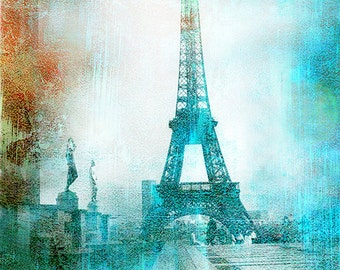 Paris Photography, Eiffel Tower Aqua Teal Abstract Print, Paris Eiffel Tower Wall Art Print, Paris Aqua Teal Eiffel Tower Wall Art Print