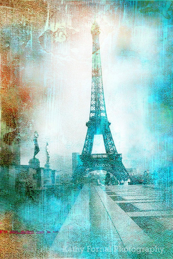 Paris Photography Eiffel Tower Aqua Teal Abstract Print