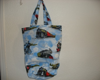 nice tote with vintage trains