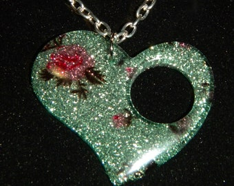 Heart Shaped Pendant, Acrylic Resin, Pink Roses on a Pale Green Glittery Background, Boho Necklace, on Memory Wire, Leather Cord, or Chain.