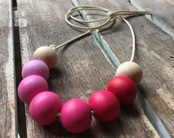 ombre pinks painted wooden bead necklace