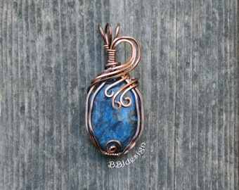 Blue Stone Pendant Necklace Antiqued Copper