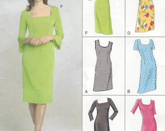 Womens Shift Dress Semi Fitted with Bodice & Sleeve Variations OOP Vogue Sewing Pattern V7896 Size 12 14 16 Bust 34 36 38 UnCut
