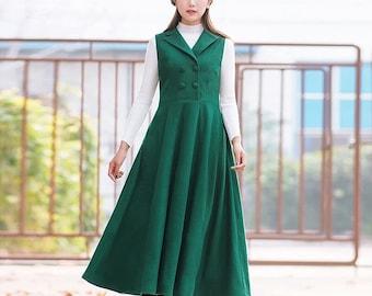Woolen dress Long dress Sleeveless dresses green long dress