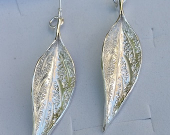 Leaf Silver Earrings ,Silver Dangle Earrings ,Long Silver Earrings ,Sterling Silver Earrings ,Handmade Silver Leaf ,Mother's Day Gift