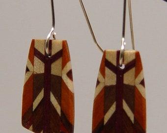 Wood Dangle, Drop, Silver Earwire, Wooden Earrings, earrings, 5-1