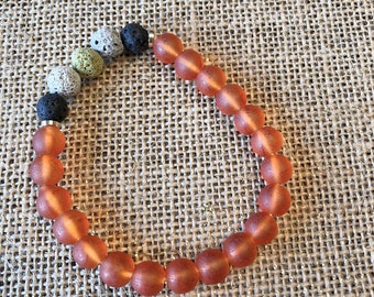 Multi Color Lava Rock Beads - Orange Glass Beaded Bracelet