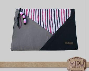 patchwork clutch, modern handbag, grey clutch, black handbag, geometric bag