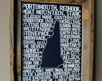 Beers of New Hampshire Word Map (Dark Blue)