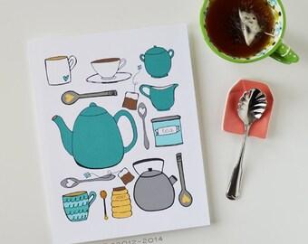 CHOOSE your color, Kitchen Art, Kitchen Decor, I love tea, Tea lover, teapot, tea cup, Art Print, tea time, tea illustration