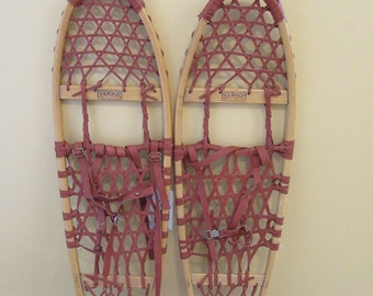 Wood  snowshoes with boot straps and  neoprene laces- Iverson-vintage- fine condition