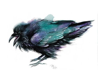 Raven painting watercolor - Giclee Print. Nature or Bird Illustration, Crow, Raven