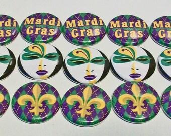 Set of 15 Purple and Gold Fleur De Lis Mardi Gras Themed 1 Inch Flat Back Embellishments Buttons Flair