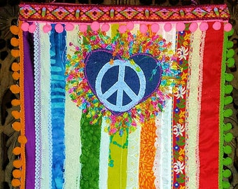 Rainbow Hippie Peace and Love Banner Wall Hanging